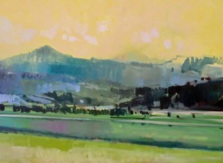 Jerry Ross; Coburg Hills, 2012, Original Painting Oil, 48 x 36 inches. Artwork description: 241  Coburg hills near Eugene. The Coberg Hills are north of Eugene, OR and are a majestic, dramatic range of foothills that border open crazing land. I have painted this natural expanse in my American Verismo style using patches of brushwork to abstract and add a visual poetry ...