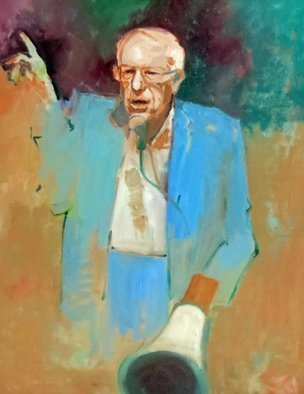 Jerry Ross; Feel the Bern, 2016, Original Painting Oil, 36 x 48 inches. Artwork description: 241  A portrait of Bernie Sanders, Democratic candidate for president in 2016. Exhibited at Brent- Wesley Gallery, Las Vegas. ...
