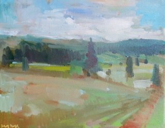 Jerry Ross; Near Goshen, 2016, Original Painting Oil, 20 x 16 inches. Artwork description: 241  Farm scene in Eugene near Goshen. A verismo composition with a minimum set of shapes. ...