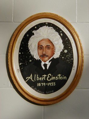 Cathy Dobson; Albert Einstein, 2006, Original Painting Oil, 16 x 20 inches. Artwork description: 241 Phosphorescent quote wraps arond- ( Imagination is more Important than Knowledge - A. Einstein) the portrait on oval canvas. Illuminated oil painting. ...