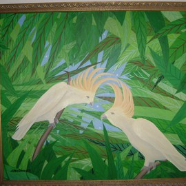 Cathy Dobson, , , Original Painting Oil, size_width{Cockatoos-1432907810.jpg} X 36 inches