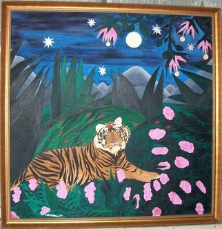 Cathy Dobson; Tiger In The Wild, 1992, Original Painting Oil, 48 x 48 inches. Artwork description: 241   In The Wild Marijuana Collection. ...