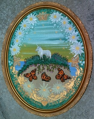 Cathy Dobson;  Magic, 2013, Original Painting Oil, 16 x 20 inches. Artwork description: 241 Original Illuminous Oval Oil Painting  from The Butterflies and Unicorns Collection. With phosphorescent highlights that glow in the dark.Gold wooden frame.    ...