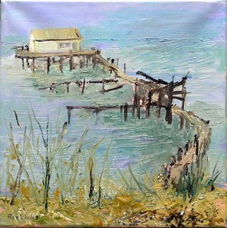 Roz Zinns; Benicia Wharf, 2010, Original Painting Oil, 12 x 12 inches. Artwork description: 241   Water view from Benecia, CA  ...