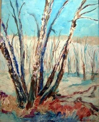 Roz Zinns, 'Birches In Snow', 2004, original Painting Acrylic, 20 x 16  x 1 inches. Artwork description: 3495 Sole birches in snowy New Mexico vista....