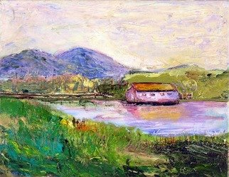 Roz Zinns, 'Boathouse', 2006, original Painting Oil, 14 x 11  x 1 inches. Artwork description: 3495  View from Benicia, right in from the Golden Gate.  How lovely the area. ...