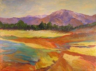 Roz Zinns, 'California Grandeur', 2007, original Painting Acrylic, 48 x 36  x 2 inches. Artwork description: 2307  Purple mountains and vividly abstracted fields. ...