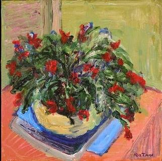 Roz Zinns, 'Christmas Cactus', 2003, original Painting Acrylic, 12 x 12  x 1 inches. Artwork description: 3495 Contemporary rendition of a holiday favorite...