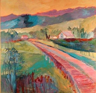 Roz Zinns, 'Country Road', 2008, original Painting Acrylic, 36 x 36  inches. Artwork description: 2307  Warm slightly abstracted country scene. ...