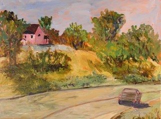 Roz Zinns, 'Pink House', 2009, original Painting Acrylic, 24 x 18  inches. Artwork description: 2307  A quiet side street with a pink house outside of town. ...