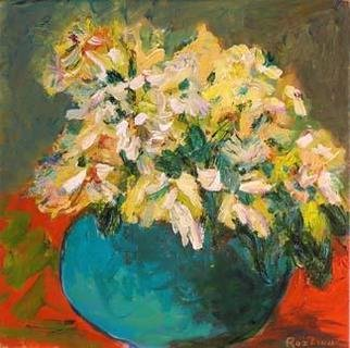 Roz Zinns, 'Spring Flowers', 2006, original Painting Acrylic, 12 x 12  x 1 inches. Artwork description: 3495 Cheery flowers in a green vase....