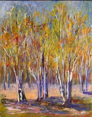 Roz Zinns, 'Stand Of Birches', 2005, original Painting Acrylic, 16 x 20  x 1 inches. Artwork description: 2703 Dark purple shadows on the trunks of birches in Autumn. ...
