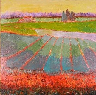 Roz Zinns, 'Strawberry Fields', 2007, original Painting Acrylic, 36 x 36  x 2 inches. Artwork description: 2307  Vivid reds outline the strawberry fields in this colorful slightly abstracted landscape ...