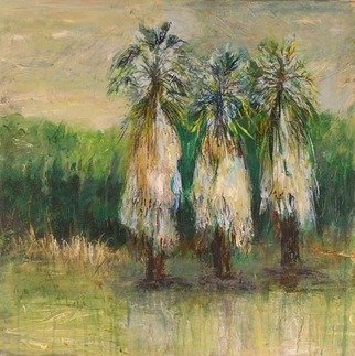 Roz Zinns, 'Swaying Palms', 2006, original Painting Acrylic, 18 x 18  x 2 inches. Artwork description: 3495  Palms swaying in the breeze.  Or could they be swaying figures? ...
