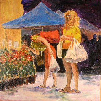 Roz Zinns, 'Time To Smell The Roses', 2008, original Painting Acrylic, 24 x 24  x 2 inches. Artwork description: 2703  Two women at a Farmers Market ...