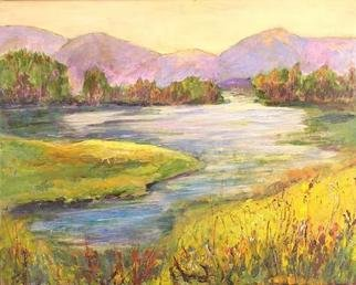 Roz Zinns, 'Tranquil Lake', 2005, original Painting Acrylic, 20 x 16  x 1 inches. Artwork description: 3495 A golden glow to enjoy...