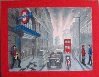 Robert Jessamine; Baker St, 2019, Original Painting Acrylic, 42 x 32 inches. Artwork description: 241 Painting based on Gerry Rafferty s song  Baker St.  depicting London life during that era as remembered. ...
