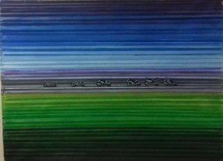 Robert Jessamine; Speed Line, 2017, Original Painting Acrylic, 40 x 30 inches. Artwork description: 241 abstract based on a procession of speeding racing motorcycles...