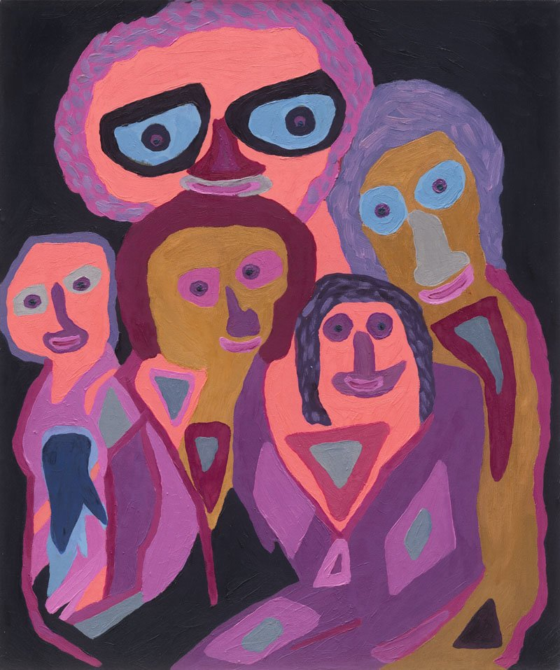 Rubi Assa; The Family, 2008, Original Painting Oil, 44 x 60 inches.