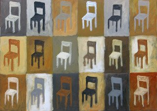 Alberto Ruggieri; Chairs, 2006, Original Painting Acrylic, 70 x 50 cm. Artwork description: 241  decorative, module, brown ...
