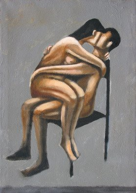 Alberto Ruggieri; Embrace And Chair, 2006, Original Painting Acrylic, 50 x 70 cm. Artwork description: 241  psiche, material, lovers, kiss, sand, grit , love...