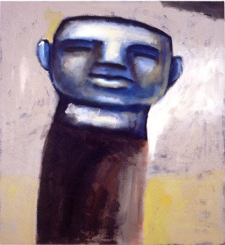 Alberto Ruggieri; Head, 2000, Original Painting Acrylic, 65 x 70 cm. Artwork description: 241  head, psiche, blue   ...