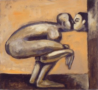 Alberto Ruggieri; Kiss, 1999, Original Painting Acrylic, 60 x 55 cm. Artwork description: 241 square, psiche, material, kiss, couple, surreal, brown, lovers , love...