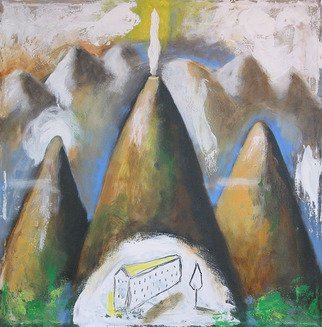 Alberto Ruggieri; Landscape 2, 2006, Original Painting Acrylic, 40 x 40 cm. Artwork description: 241  mountain, house, volcano, material, square, decoratve ...