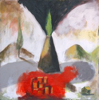 Alberto Ruggieri; Landscape 5, 2007, Original Painting Acrylic, 40 x 40 cm. Artwork description: 241   square, psiche, material,  volcano, moountain, village, house ...