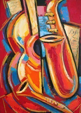 Rumen Sazdov, 'Evening Without You', 2016, original Painting Oil, 50 x 70  x 1 cm. Artwork description: 1758 Music stil life with guitare and saxophone...