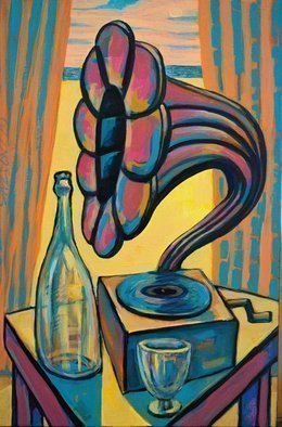 Rumen Sazdov, 'Nostalgy', 2019, original Painting Acrylic, 40 x 60  x 3 cm. Artwork description: 1758 Still life composition with retro gramophone, bottle and glass, acrylic on canvas...
