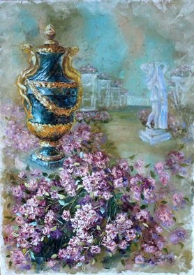 Elena Zorina; Pink dream, 2015, Original Painting Oil, 70 x 50 cm. Artwork description: 241   Rose, Peterhof, floral still life, years, years of still life, pink roses, climbing roses, climbing roses, vases. flowerpot, Tsarskoye Selo, St. Petersburg ...