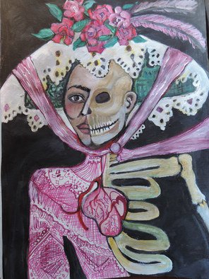 Ruth Olivar Millan; Catrina, 2014, Original Painting Acrylic, 18 x 24 inches. Artwork description: 241        Images of women, children and life and death issues. Human Bonds with each other and earth. Brillant acrylic color in an international perspective in the style of the great Mexican muralists, German expressionist, Gaughin, Frida, sll original paintings by Ruth Olivar Millan        ...