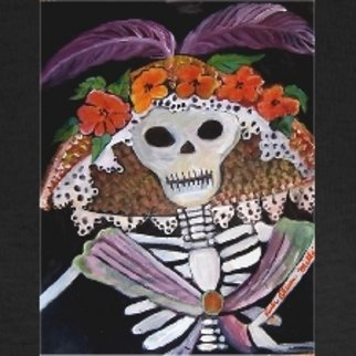 Ruth Olivar Millan; El Dia De Los Muertos, 2010, Original Painting Acrylic, 18 x 24 inches. Artwork description: 241   El dia de los Muertos. . . . day of the Dead. This image made popular my the political activitiest of Mexico. Katrina is a mythical figure in Mexican and Early California literature ...