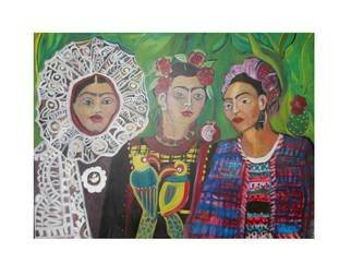 Ruth Olivar Millan; Frida Dress Up Party, 2015, Original Painting Acrylic, 18 x 24 inches. Artwork description: 241           Images of women, children and life and death issues. Human Bonds with each other and earth. Brillant acrylic color in an international perspective in the style of the great Mexican muralists, German expressionist, Gaughin, Frida, sll original paintings by Ruth Olivar Millan           ...