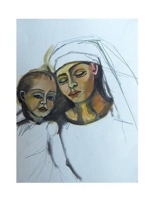 Ruth Olivar Millan; Madona And Child , 2010, Original Painting Acrylic, 18 x 24 inches. Artwork description: 241 Sketch with acrylic paint. Original painting purposely left as a sketch. Sent to the buyer framed, matted and under glass or not matted etc for easy handling. ...