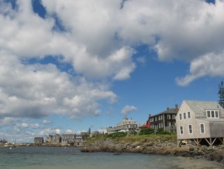 Ruth Zachary; Monhegan Sky, 2012, Original Photography Color, 10 x 8 inches. Artwork description: 241 Clouds upon clouds! Over blue sky and harbor. Iconic Monhegan: Island Inn, The Influence, Fish House. Monhegan Island, Maine.  Larger size available, 11 x 14, $98.  ...