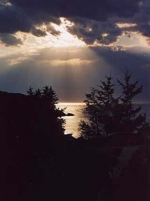 Ruth Zachary; Night Shine, 2012, Original Photography Color, 8 x 10 inches. Artwork description: 241 A rare sunset sky, rays bursting amid clouds of gray, over silver sea, trees in silhouette. ...