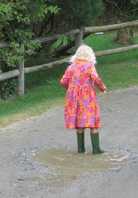 Ruth Zachary; Puddle Girl, 2012, Original Photography Color, 8 x 10 inches. Artwork description: 241 Little girl, blond curls, flowery red dress, tall green boots and a puddle! Made for each other! Larger size available ( 11 x 14, $98) .   ...