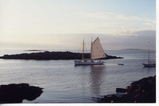 Ruth Zachary; Sailing By, 2012, Original Photography Color, 10 x 8 inches. Artwork description: 241 Vintage schooner, sail up, passing through islands off the coast of Maine. ...