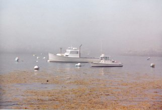 Ruth Zachary; Silver And Gold, 2012, Original Photography Color, 10 x 8 inches. Artwork description: 241 Silver And Gold because the lobster boats and the sea are silvery and the sea weed is golden.  The harbor of Monhegan Island, Maine.  ...