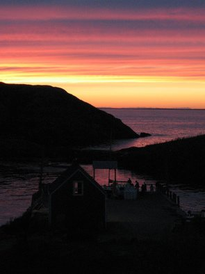 Ruth Zachary; Sky Celebration, 2012, Original Photography Color, 8 x 10 inches. Artwork description: 241 Sunset in stripes of purple, pink, apricot  and yellow, reflected in indigo sea, islands in silhouette, dock in shadow. Monhegan Island, Maine. Larger size available, 11 x 14, $98. ...