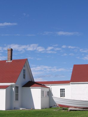 Ruth Zachary; Sky Over Keepers House, 2012, Original Photography Color, 8 x 10 inches. Artwork description: 241 The original light house keeper' s house on Monhegan Island, Maine, still stands.  Red and white; shapes and angles; light and shadows.  Big blue sky.  Larger size available ( 11 x 14, $98)...