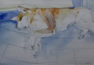 Ruzanna Hanesyan; Portrait Of A Dog, 2019, Original Watercolor, 10 x 7 inches. Artwork description: 241 Through the medium, I was exploring the movement of dog in space and time. The painting duration was based on the held position of the dog. ...