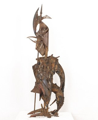 Oleg Ryashentcev; Rooster With Ax, 1985, Original Sculpture Steel, 29 x 93 cm.