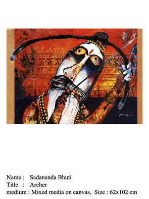Sadananda Bhuti; Archer, 2008, Original Mixed Media, 102 x 62 cm. Artwork description: 241  Sadananda BhutiTitle: Archer, Year: 2008, Size: 62x102 cmMedium: Mixed Media on Canvas ...