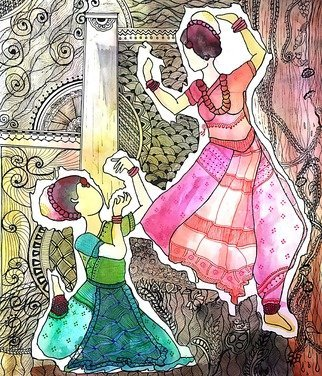 Deepti Tripathi; Nartaki 2, 2019, Original Painting Ink, 8 x 10 inches. Artwork description: 241 Indian traditional dance in a painting...
