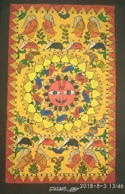 Deepti Tripathi; Sun Power, 2018, Original Painting Acrylic, 13 x 23 inches. Artwork description: 241 Madhubani painting of mithila region of Nepal and are characterized by simple geometric eye catching patterns. ...