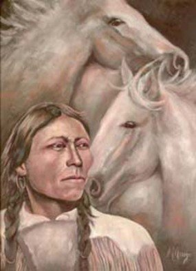 Sally Arroyo; 1910 Native American Indi..., 2015, Original Painting Oil, 24 x 18 inches. Artwork description: 241  Unknown Native American Indian in tribal dress and his wild horses, reflecting on past and future of his race. Signed by artist Size 24x18 Oil on canvas Framed ( barnyard gray in color) colors white with pastels  ...