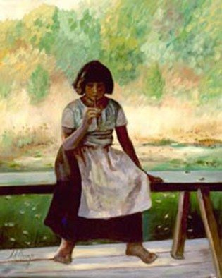 Sally Arroyo; Early American Girl, 2015, Original Painting Oil, 16 x 20 inches. Artwork description: 241  SOLITARY  PEASANT GIRL, SITTING ON A BENCH OUTDOOR MEADOW IN BACKGROUND. THOUGHTFUL , PENSIVE, REMINISCING. Size 16